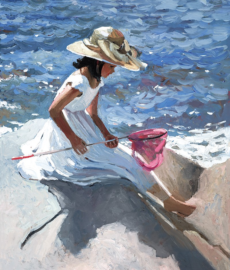 Sitting on the Rocks by Sherree Valentine Daines - Embellished Canvas on Board sized 11x13 inches. Available from Whitewall Galleries